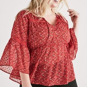 Blouse 3X Lucky Brand Floral Babydoll Sheer Top